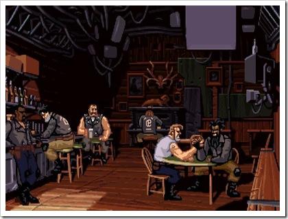 Il bar dove Ben e la sua banda si trovano all'inizio del gioco