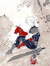 Cloud & Red XIII in una concept art di Yoshitaka Amano