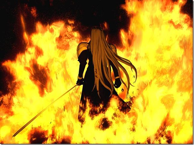 Sephiroth in una iconica cutscene