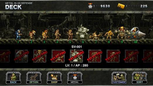 Metal Slug Defense deck