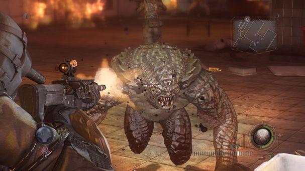 Questo Hunter è molto incazzato che gli stiate sparando in faccia, rimuovendogli il mascar-ops, dovrebbe essere sangue.