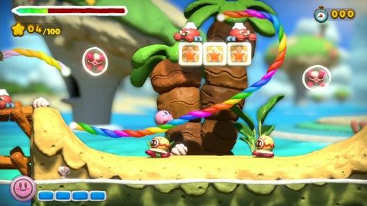 Kirby and the rainbow curse gameplay