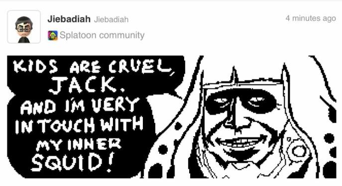 Miiverse non si è sprecato nel creare meme o disegni cross-over di qualsiasi tipo, ma personalmente questi a tema Metal Gear Rising X Splatoon mi hanno spezzato. :)
