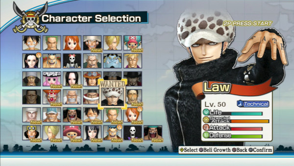 One Piece Pirate Warriors 2 complete roster