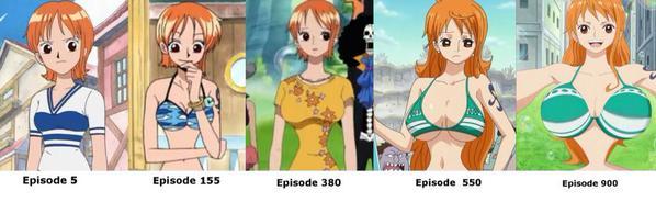 Questa immagine comparativa potrebbe essere falsa (ho smesso di seguire l'anime assai prima del 900 episodio), ma qualcosa mi dice di no.