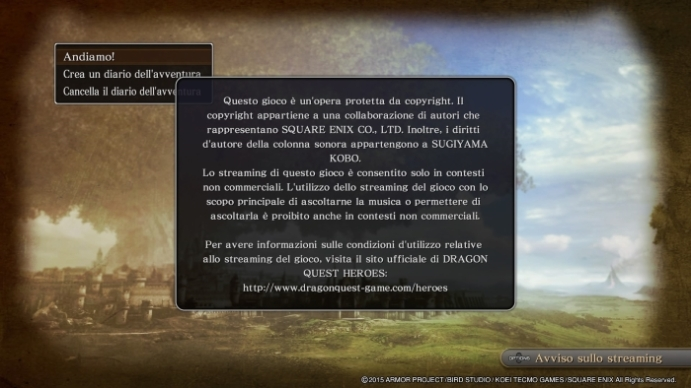 Dragon Quest Heroes copyright policy bollocks