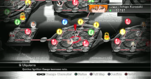 Bleach Soul Resurreccion PS3 level up grid