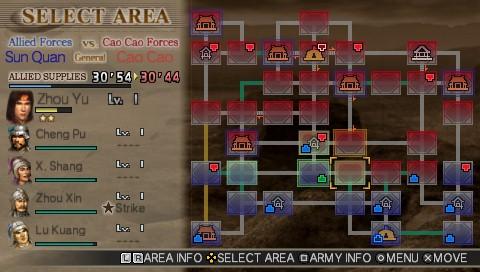 Dynasty Warriors Vol 2 map screen