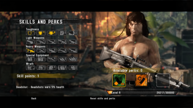 Rambo The Videogame PS3 skill system