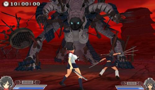 Senran Kagura 2 Deep Crimson huge boss fight