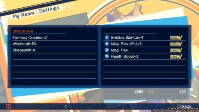 Fate Extella stats in themselvers